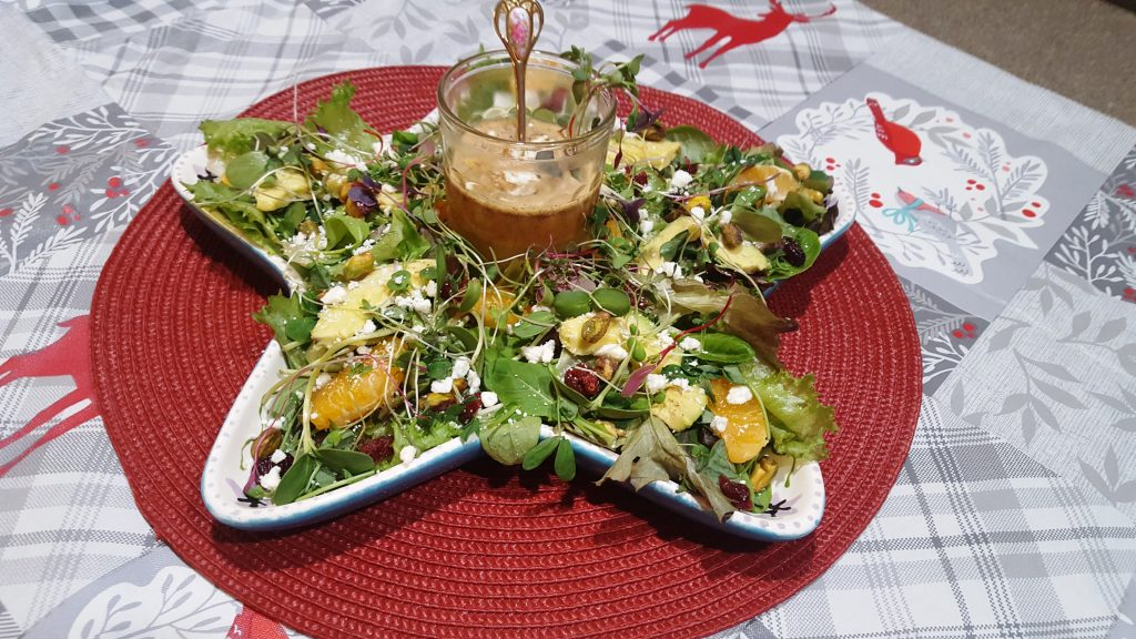 Holiday Microgreen Salad with Citrus-Champagne Vinaigrette
