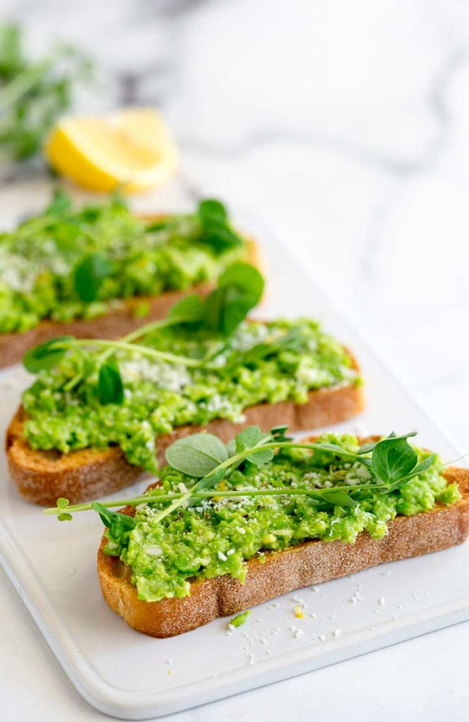 Sweet Pea Microgreen Bruschetta