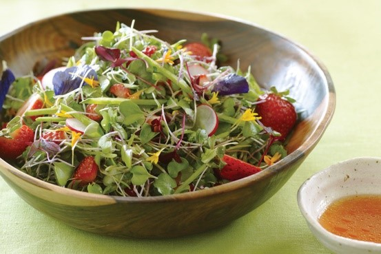 Summer Salad with Microgreens and Strawberry-Lime Vinaigrette